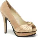 Pin Up Couture Sandals -  Champagne Faux Suede Open Toe Platform Pump - 7
