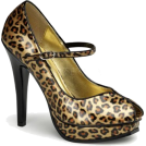 Pin Up Couture Sandals -  Cheetah Print Patent Mary Jane Peep Toe - 6