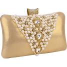 MG Collection Clutch bags -  Classic Pearl Beads Brooches Rhinestone Encrusted Latch Hard Case Clutch Baguette Evening Bag Handbag Purse w/2 Chain Straps Gold