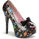 Pin Up Couture Platforms -  Dia De Los Muertos Print Platform Pump With Bow - 6