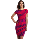 Donna Morgan Dresses -  Donna Morgan Women's Printed Jersey Side Rouched Dress Fuschia Multi