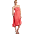 Donna Morgan ワンピース・ドレス -  Donna Morgan Women's Solid Empire Chiffon Dress Coral