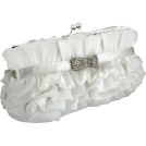 MG Collection Clutch bags -  Empress Princess Ruffle Rhinestone Bow Tie Clasp Clutch Baguette Handbag Evening Bag Purse w/2 Detachable Chains White