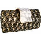 MG Collection Clutch bags -  Enchanting Vintage Lace Sprinkle Bling Rhinestones Closure Hard Case Baguette Evening Clutch Purse w/Detachable Shoulder Chain Gold