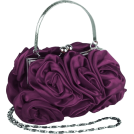 MG Collection Clutch bags -  Enormous Rosette Roses Framed Clasp Evening Handbag Clutch Purse Convertible Bag w/Hidden Handle, Shoulder Chain Purple