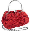 MG Collection Clutch bags -  Enormous Rosette Roses Framed Clasp Evening Handbag Clutch Purse Convertible Bag w/Hidden Handle, Shoulder Chain Red