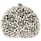MG Collection Clutch bags -  Exquisite Intricate Pearl Beads Rhinestone Encrusted Closure Half-moon Hard Case Clutch Baguette Evening Bag Handbag Purse w/2 Chain Straps Black