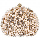 MG Collection Clutch bags -  Exquisite Intricate Pearl Beads Rhinestone Encrusted Closure Half-moon Hard Case Clutch Baguette Evening Bag Handbag Purse w/2 Chain Straps Gold
