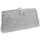 MG Collection Clutch bags -  Exquisite Vintage Crystals Rhinestones Soft Mesh Clasp Clutch Baguette Evening Bag Handbag Purse w/Detachable Chain White