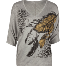 Full Tilt Top -  FULL TILT Feather Print Womens Top Grey