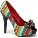 Pin Up Couture Sandals -  Fiesta Serape Print Open Toe Platform Pump - 9