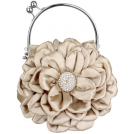 MG Collection Clutch bags -  Flower Bloom Rhinestone Encrusted Stamen Side Kiss Frame Clasp Evening Bag Baguette Clutch Handbag Purse w/Detachable Chain Beige