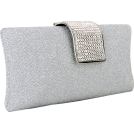 MG Collection Clutch bags -  Glamorous Glitter Hard Case Evening Clutch Baguette Handbag Purse Rhinestone Closure w/Detachable Chain White