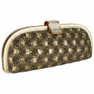 MG Collection Clutch bags -  Glamorous Vintage Lace Sprinkle Rhinestones Closure Half Moon Hard Case Evening Baguette Clutch Purse w/Detachable Shoulder Chain Coffee