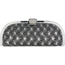 MG Collection Clutch bags -  Glamorous Vintage Lace Sprinkle Rhinestones Closure Half Moon Hard Case Evening Baguette Clutch Purse w/Detachable Shoulder Chain Gray