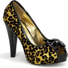 Pin Up Couture Sandals -  Gold Cheetah Glitter Print Sexy Pin Up Pump - 6