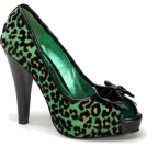 Pin Up Couture Sandals -  Green Cheetah Glitter Print Sexy Pin Up Pump - 5