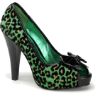 Pin Up Couture Sandals -  Green Cheetah Glitter Print Sexy Pin Up Pump - 7