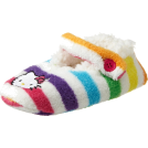Hello Kitty Ostalo -  Hello Kitty Girls 7-16 Stripe Fuzzy Babba Slipper Socks Multi