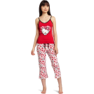 Hello Kitty Pigiame -  Hello Kitty Women's Hk Dreaming Of Love Pajama Pant Set With Printed Pant And Tank Top Red