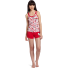 Hello Kitty ルームウェア -  Hello Kitty Women's Hk Dreaming Of Love Pajama Short Set With Shorts And Printed Tank Top Red