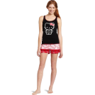 Hello Kitty トップス -  Hello Kitty Women's Hk Nordic Comfort 2 Piece Pajama Short Set Tank Printed Top Black