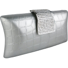 MG Collection Clutch bags -  Imperial Crocodile Animal Print Rhinestone Closure Hard Case Baguette Evening Clutch Purse w/Detachable Chain Silver