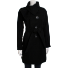 Jessica Simpson Kurtka -  Jessica Simpson Women's Tie Neck Belted Coat Black