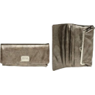 Kenneth Cole Reaction Wallets -  KENNETH COLE REACTION Patent Crinkled Fold-Over Clutch [187829/899], Pewter