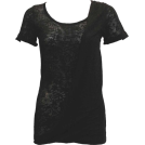 FineBrandShop Tuniche -  Ladies Burnout Black Tunic Top One Side Diagonal Cross Covered Front Layer