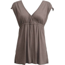 FineBrandShop Tunic -  Ladies Pebble Grey Tunic Top Weave Shoulders Elastic Waist Deep V-Neck