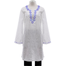 Lilly Pulitzer Tuniche -  Lilly Pulitzer White Embroidered Bridget Tunic Top With Beaded Caftan Neckline