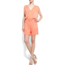 Mango Suits -  Mango Women's V-neck Short Jumpsuit Peach