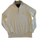 Tommy Hilfiger Puloverji -  Men's Tommy Hilfiger Long Sleeve Pullover Sweater Ivory Size Small