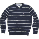 Tommy Hilfiger Pullover -  Mens Tommy Hilfiger V-neck Sweater in Navy Blue with Grey Stripes