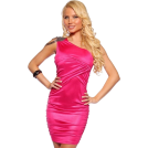 Hot from Hollywood Dresses -  One Shoulder Shirred Beads Trim Hot Party Mini Dress