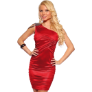 Hot from Hollywood  -  One Shoulder Shirred Beads Trim Hot Party Mini Dress