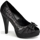 Pin Up Couture Sandals -  Pin Up Black Glitter Open Toe Platform Pump - 7