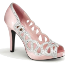 Pin Up Couture Sandals -  Pin Up Girl Baby Pink Satin Cut Out Pump - 9