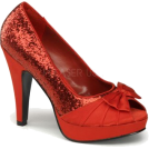 Pin Up Couture Sandals -  Pin Up Red Glitter Open Toe Platform Pump - 6