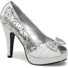 Pin Up Couture Sandals -  Pin Up Silver Glitter Open Toe Platform Pump - 10
