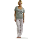 "Rampage Pigiame -  Rampage ""Peace, Love and Coffee"" Pajama Set Brown"