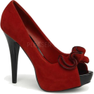 Pin Up Couture Sandals -  Red Faux Suede Sexy Peep Toe Platform Pump - 8