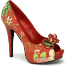 Pin Up Couture Sandals -  Red Floral Sexy Peep Toe Platform Pump - 8