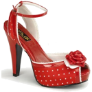 Pin Up Couture Sandals -  Red Satin Polka Dot Ankle Strap Platform Sandal - 9