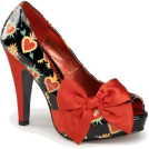 Pin Up Couture Sandals -  Satin Bow Pin Up Pump With Sacred Hearts Print - 8