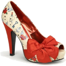 Pin Up Couture Sandals -  Satin Bow Pin Up Pump With Tattoo Print - 10