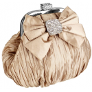MG Collection Clutch bags -  Satin Bow Pleated Rhinestones Brooch & Clasp Frame Baguette Clutch Evening Bag Handbag Purse w/2 Hidden Chains Gold