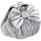 MG Collection Clutch bags -  Satin Bow Pleated Rhinestones Brooch & Clasp Frame Baguette Clutch Evening Bag Handbag Purse w/2 Hidden Chains Silver
