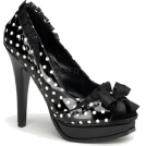 Pin Up Couture Sandals -  Sexy Black Patent Polka Dot Open Toe Pump - 10